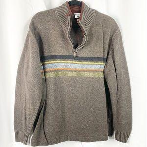 Columbia brown striped half zip sweater xl